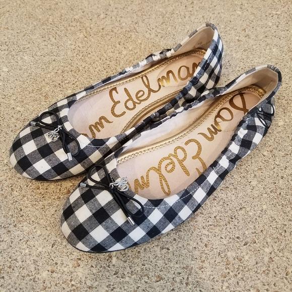 Sam Edelman Shoes - Sam Edelman Felicia Gingham Ballet Flats Black